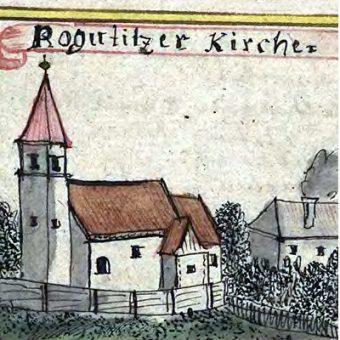 Kościół z Bogucicach na rycinie z XVIII wieku