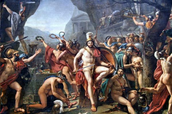 """Spartanie kojarzą nam się dziś przede wszystkim z bohaterstwem i... homoseksualizmem. Czy tak było naprawdę? Na ilustracji obraz Jacquesa-Louisa Davida """"Leonidas pod Termopilami""""."""