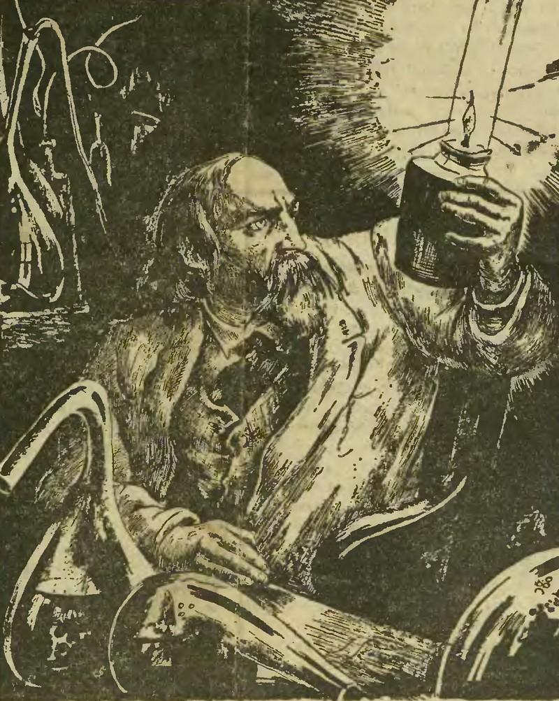 XIX-wieczny rysunek przedstawiający Łukasiewicza trzymającego pierwszą lampę naftową.