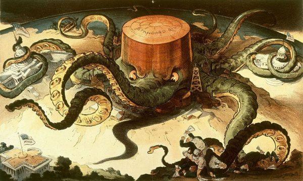Karykatura przedstawiająca zagrożenie płynące z potęgi Standard Oil.