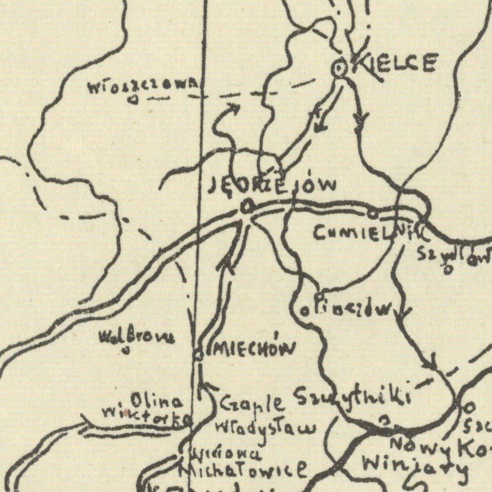 Mapa marszów i walk Brygady Piłsudskiego