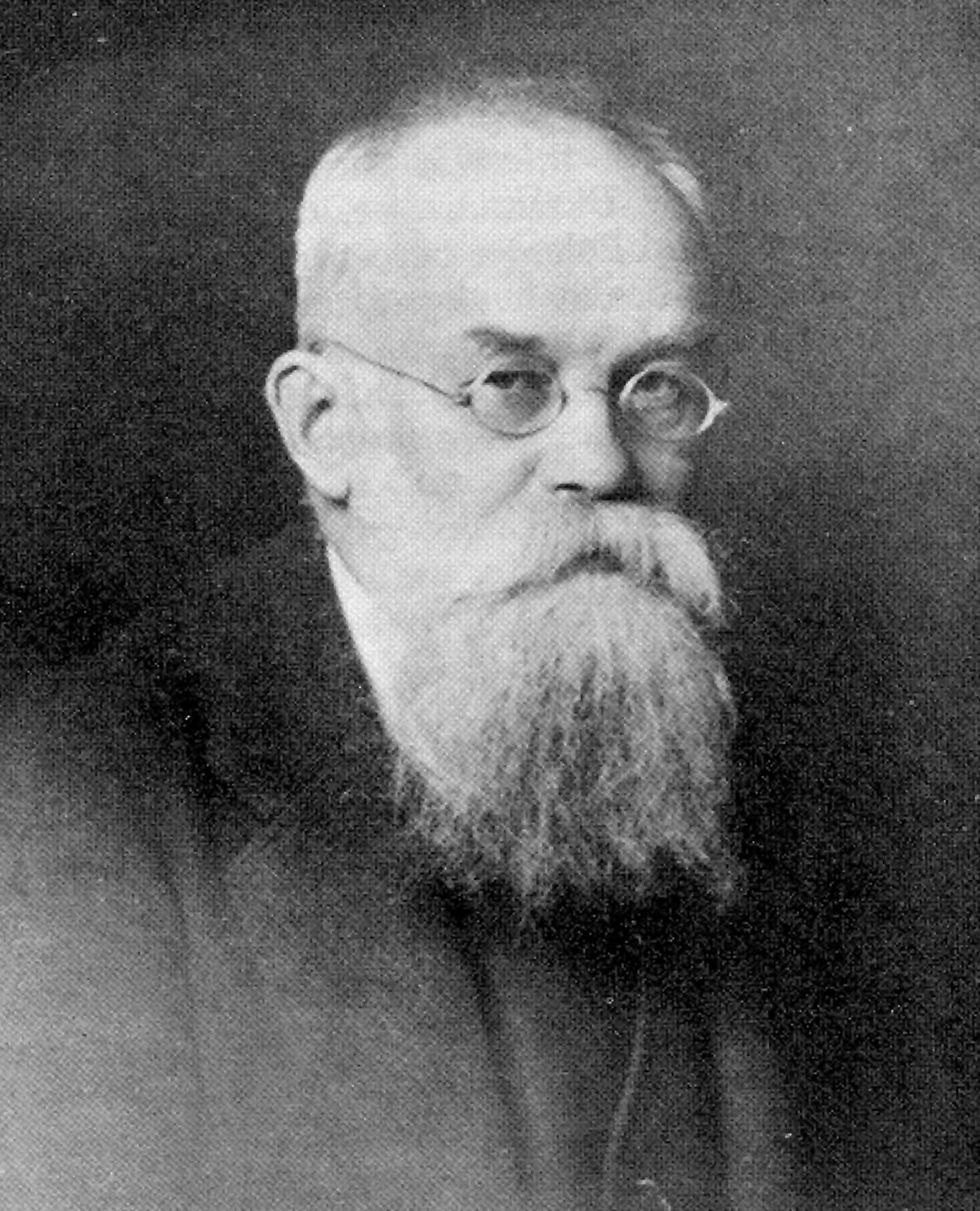 """Mychajło Hruszewski, jedna z czołowych postaci ukraińskiego odrodzenia narodowego. Zdjęcie i podpis z książki """"Czerwony Głód""""."""