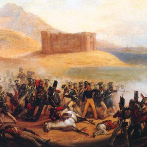 Obrona zamku Fuengirola, w Hiszpanii przez oddział IV pułku piechoty z Xięstwa Warszawskiego (obraz Januarego Suchodolskiego)
