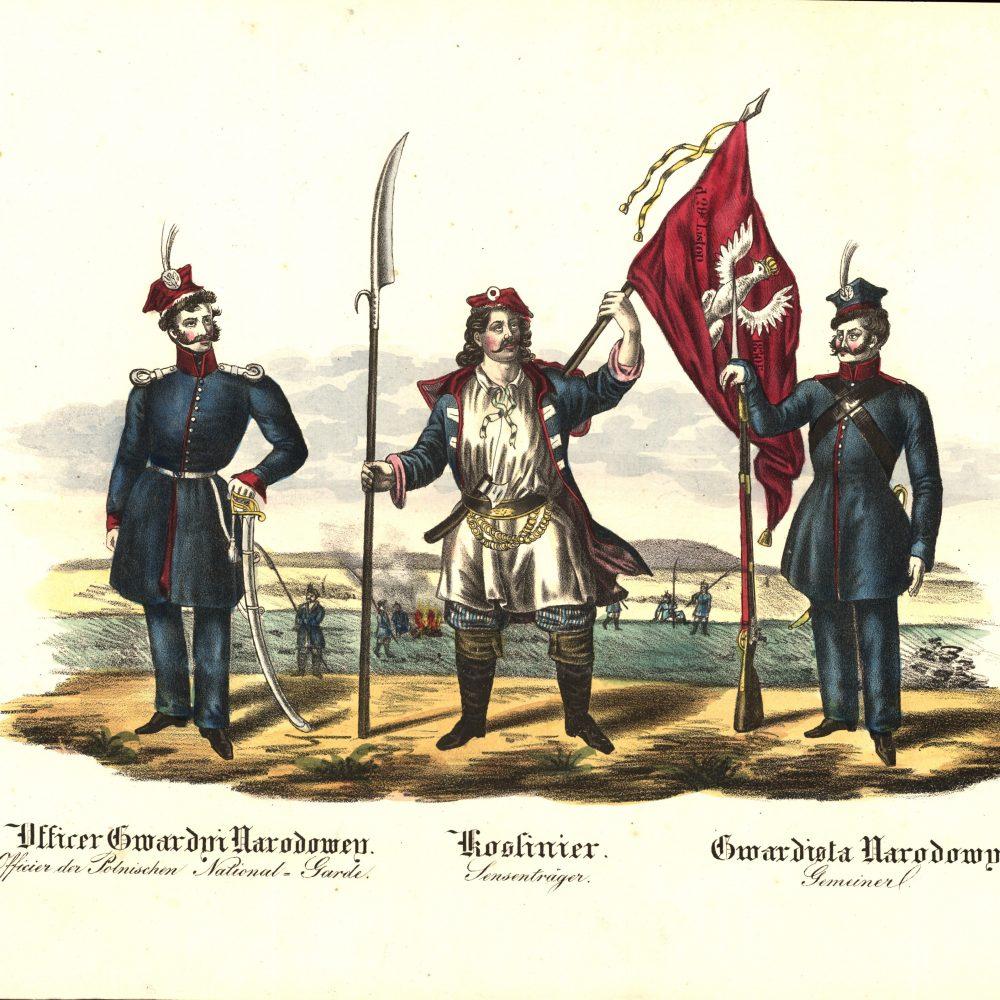 Rycina z czasów powstania przedstawiająca żołnierzy