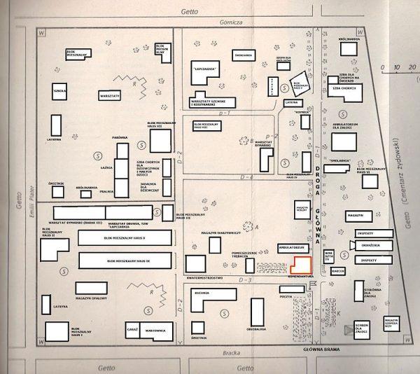 Obóz prewencyjny dla młodych Polaków został utworzony na obszarze wydzielonym z łódzkiego getta. Na ilustracji plan obozu przy ul. Przemysłowej (na czerwono budynek jego komendantury).