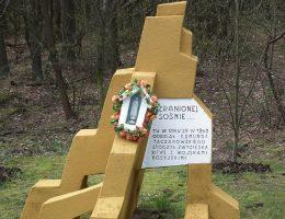 """Pomnik """"Zranionej sośnie"""" - postawiony na miejscu sosny, trafionej pociskiem z armaty moskiewskiej"""