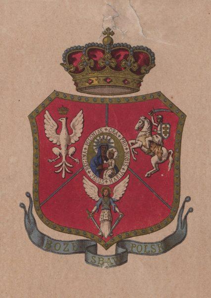 Ryngraf z 1863 z wizerunkiem trzech herbów i postacią Matki Boskiej Częstochowskiej