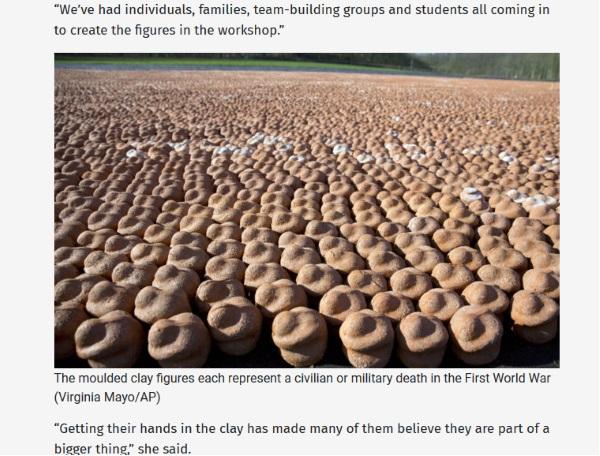 Screen materiału przygotowanego przez thelancasterandmorecambecitizen.co.uk. Widać na nim rzeźby gliniane reprezentujce ofiary wojny.