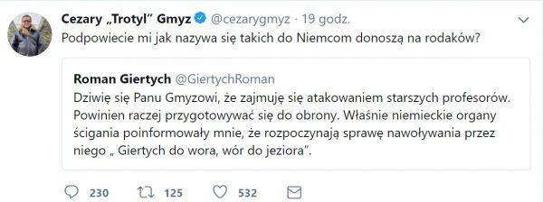 Screen z konta Twitter Cezarego Gmyza, odpowiedź na tweet Romana Giertycha.