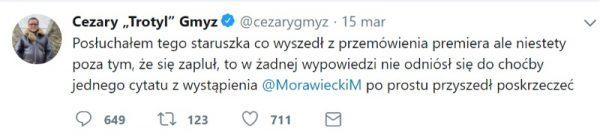 Screen z konta Twitter Cezarego Gmyza.