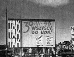 Tablice agitacyjne przed referendum w Warszawie (fot. domena publiczna)