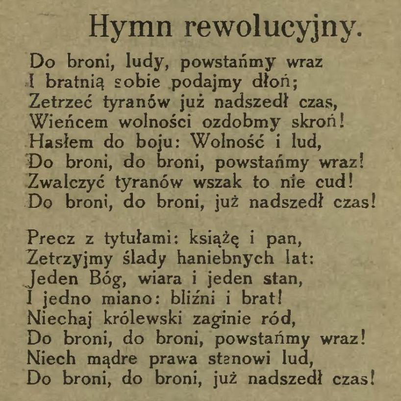 Tak zwany Marsz Mierosławskiego - pieśń autorstwa dowódcy powstania (strona ze Śpiewnika rewolucyjnego PPS z 1920)