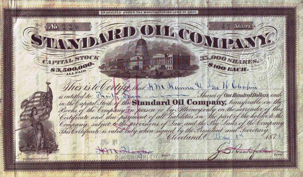 Udział o wartości 100 dolarów Standard Oil Company 1878 roku.