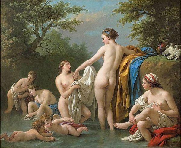 """Starożytnych Greków podniecał zupełnie inny model urody, niż panujący dziś. Nie piersi, a pośladki (a jeśli piersi, to niewielkie!). Późniejsza sztuka nie oddaje zatem antycznych kanonów piękna. Obraz Louisa Jean-Francoisa Lagrenee """"Wenus i nimfy w kąpieli""""."""