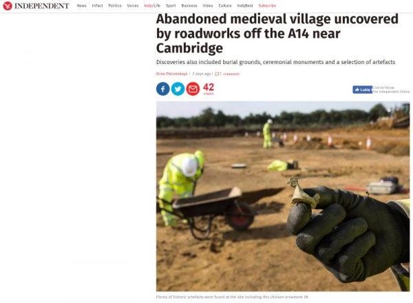 Wykopaliska w pobliżu Cambridge (screen materiału przygotowanego przez Independent).