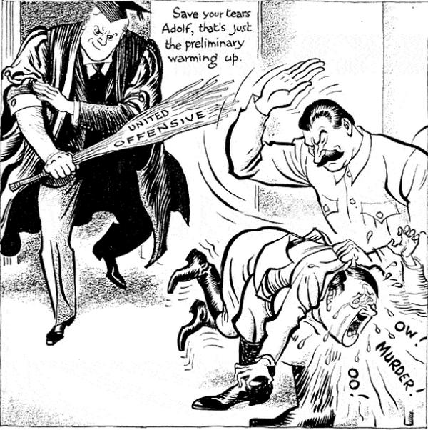"""Mimo ostatecznej niemieckiej klęski, agresja III Rzeszy na Związek Radziecki, realizowana pod kryptonimem """"operacja Barbarossa"""", była jedną z najbrutalniejszych i najbardziej wyniszczających w czasie II wojny światowej. Na ilustracji karykatura Leslie'go Illingwortha."""