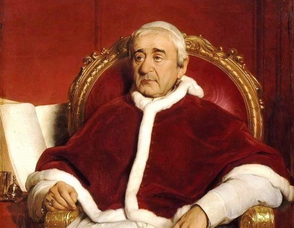 """Papież Grzegorz XVI, przeciwnik rewolucji, powstanie polskie uznał za """"bunt"""" przeciw legalnej władzy królewskiej Mikołaja I."""