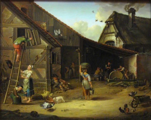 W średniowiecznej chłopskiej chacie zawsze znalazło się coś do roboty. Na ilustracji osiemnastowieczny obraz Johanna Morgensterna.