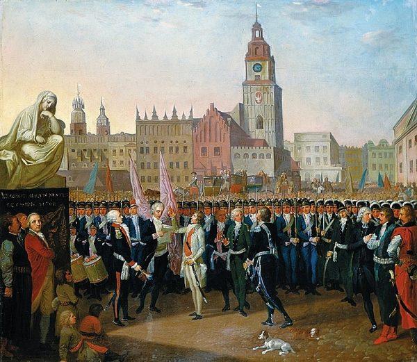 24 III 1794 r. wyznaczony przez konspiratorów na jej przywódcę Tadeusz Kościuszko, bohater wojen o niepodległość Stanów Zjednoczonych Ameryki i wojny z Rosją w obronie Konstytucji 3 maja, przybył do Krakowa i zaprzysiągł Akt powstania.