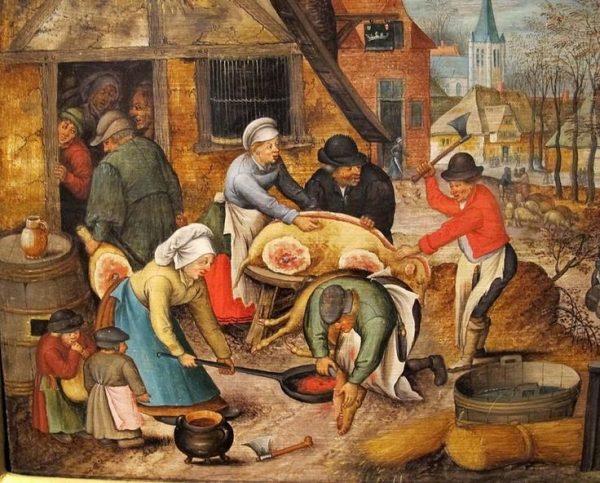 Średniowieczni angielscy chłopi jadali zazwyczaj do syta. Chociaż mięsa spożywano mało, głód zaspokajano produktami mącznymi. Obraz Petera Bruegela.