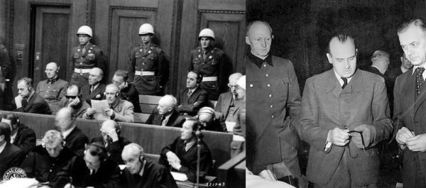 Proces w Norymberdze. Na zdjęciu po prawej Alfred Jodl, Hans Frank oraz Alfred Rosenberg.