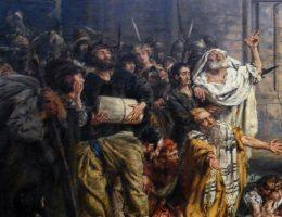 Fragment obrazu Jana Matejki ukazującego przyjęcie Żydów w Polsce (fot. domena publiczna)