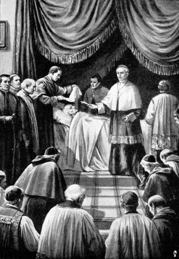 Kardynałowie upewniający się, czy papież rzeczywiście nie żyje (fot. domena publiczna)