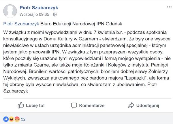 Przeprosiny Piotra Szubarczyka (screen z serwisu Facebook)