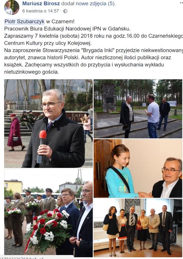 Screen z konta Facebook z relację z pobytu Piotra Szubarczyka w Czarnem.
