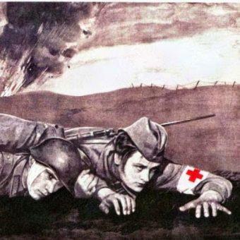 Na frontach II wojny światowej w walkach brało udział wiele kobiet. Czy wiemy ile z nich poniosło śmierć? Fragment sowieckiego plakatu propagandowego.