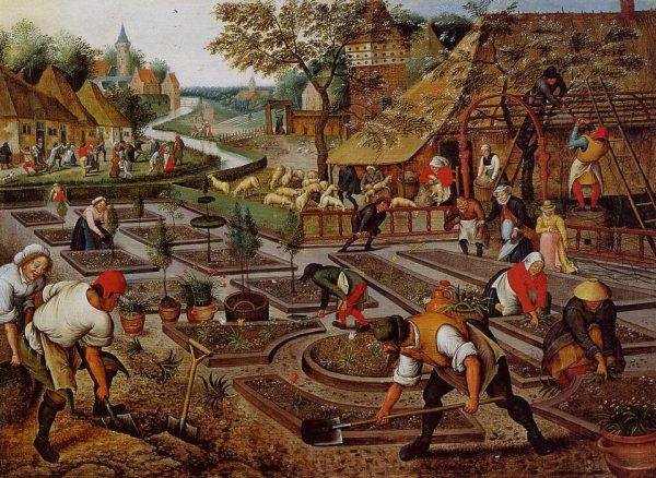 """Angielscy lordowie nie wtrącali się często w życie swoich poddanych. Względna autonomia nie oznaczała jednak wolności, ale możliwość samoorganizacji pracy. Obraz Pietera Bruegela Młodszego """"Chłopi przy pracy""""."""