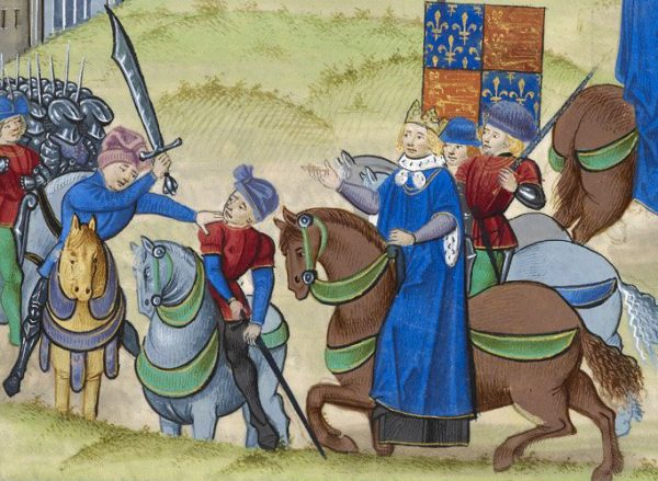 Chłopska rewolta z 1381 roku, mimo że objęła swym zasięgiem niemal całą Anglię, skończyła się tragicznie. XV-wieczna miniatura przedstawiająca śmierć jej przywódcy, Wata Tylera.