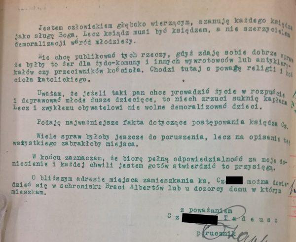 Donos na księdza C. z Dębników zachowany w krakowskich aktach prokuratorskich