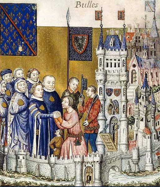 Angielscy lordowie czerpali ogromnie zyski z parafii, których byli właścicielami. Jeden mógł posiadać ich nawet kilkanaście, co dawało ogromne zyski w skali roku. Na ilustracji hołd lenny składany biskupowi z Clermont.
