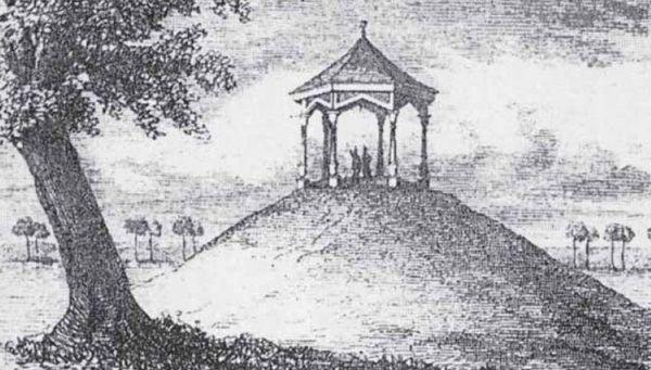 """Kopiec Esterki na rysunku z albumu """"Widoki Krakowa Friedricha Philippa Usenera"""" z 1805 roku."""