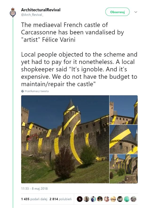 Screen tweeta komentującego dzieło sztuki na cytadeli Carcassonne.