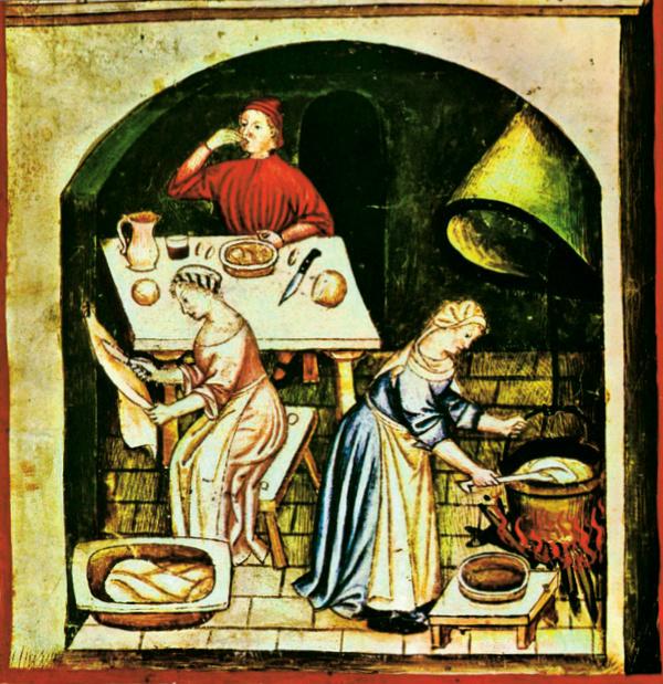 Średniowieczne szlachcianki mogły pod pewnymi względami zazdrościć angielskim chłopkom. Ilustracja przedstawiająca wieśniaczki w kuchni z Tacuinum Sanitatis, XI-wiecznego podręcznika dotyczącego zdrowego stylu życia.