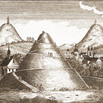 Kopce (od lewej) Wandy, Kościuszki i Krakusa na XIX-wiecznym rysunku Alexandera Glässera.