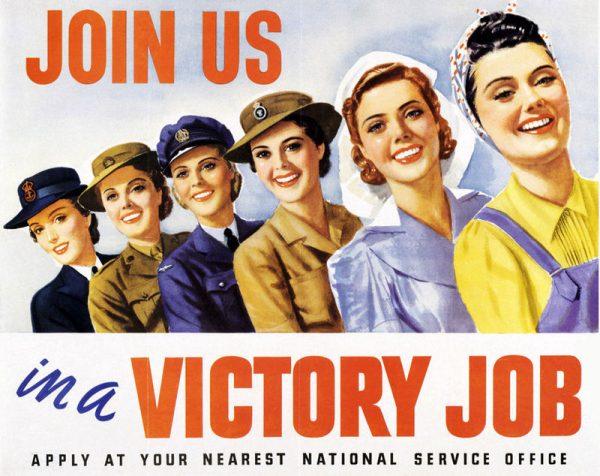 W wielu krajach kobiety były zachęcane do przyłączenia się do żeńskich oddziałów sił zbrojnych lub uczestniczenia w pracy przemysłowej lub rolniczej.