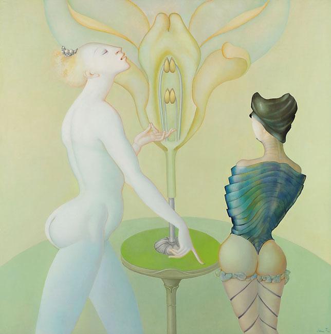 Chociaż jej prace wystawiano często z dziełami surrealistów, sama Fini nigdy nie uważała się za surrealistkę. Jej obrazy (na ilustracji jeden z nich) pokazują przede wszystkim fascynację kobiecym ciałem i seksualnością.