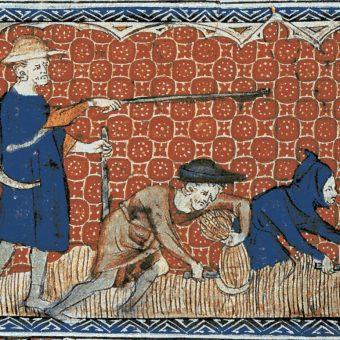 """Bezbronny kmiotek stanowiący własność lorda. Czy angielscy chłopi rzeczywiście byli niewolnikami? Ilustracja z """"Psałterza królowej Marii""""."""