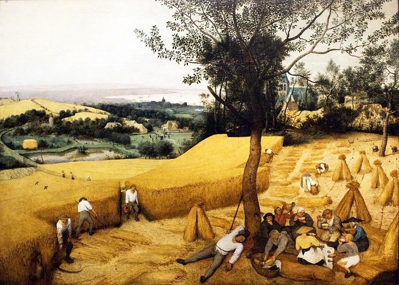 """Anzelm Gostomski w swojej książce """"Gospodarstwo"""" radził szlachcie, by wzorowała się na zagrodach chłopskich. Na ilustracji obraz Pietera Bruegla (starszego) """"Żniwa""""."""