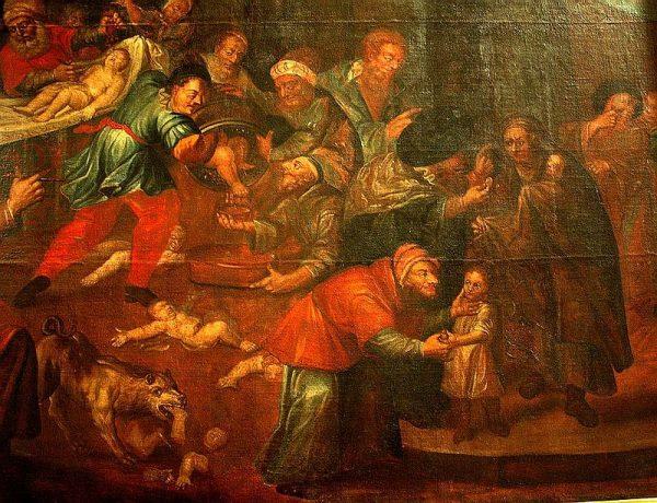 Żydzi od początku stanowili dla Kościoła element niepożądany. Na ilustracji powstały na zamówienie ks. Stefana Żuchowskiego obraz Karola de Prevot, przedstawiający rzekomy mord rytualny z katedry w Sandomierzu.