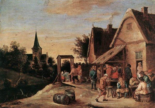 """Główne znaczenie na wsi miało nie to, jak zostanie urządzona weselna zabawa, ale kim będą małżonkowie. Nie każdy był bowiem dobrą partią. A wybory sercowe często okazywały się życiowo nietrafione. Obraz Davida Teniersa """"Wiejska uczta""""."""