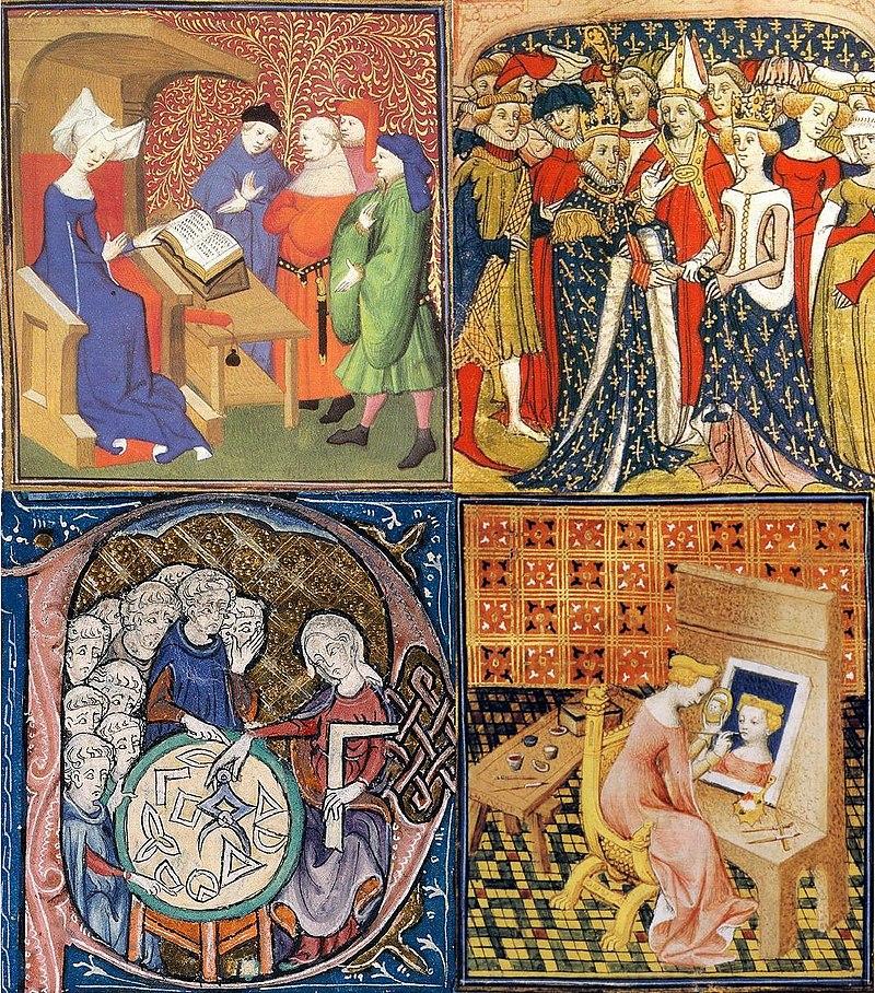 """Singielka w średniowiecznej wsi? Dla wiejskiej społeczności było to nie do pomyślenia! Artystyczna reprezentacja kobiet w Średniowieczu. Ilustracja z """"De Mulieribus Claris""""."""