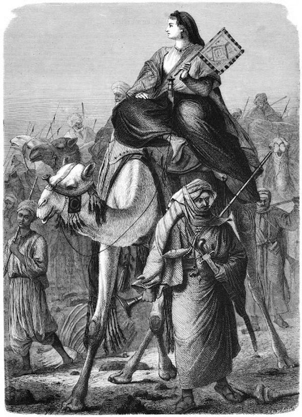 Alexandrine Tinne jako królowa pustyni na XIX-wiecznej niemieckiej rycinie.