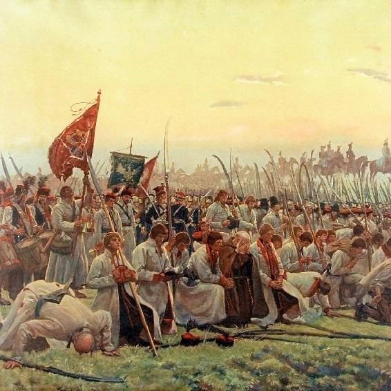 Kosynierzy na obrazie Józefa Chełmońskiego.