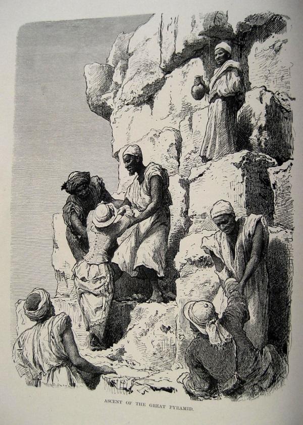 Ida Pfeiffer wspina się na piramidę w Gizie (fot. domena publiczna)