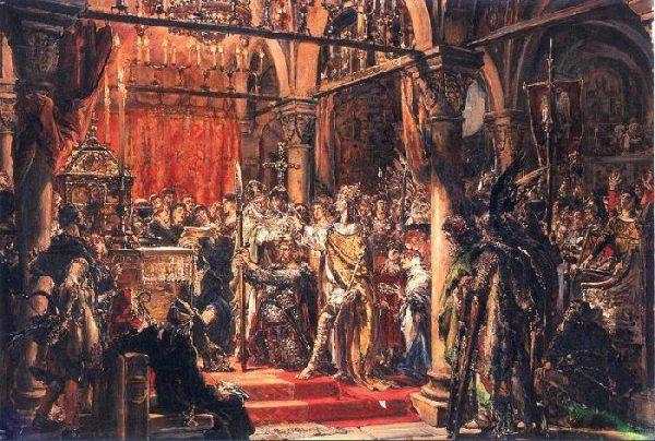 """Chrobry przez potomków został uznany za władcę Wielkiego. Obraz Jana Matejki """"Koronacja pierwszego króla Polski""""."""
