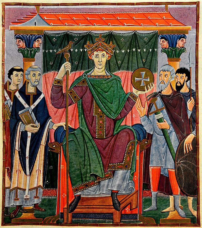 """Chrobry prowadził w Niemczech własną aktywną politykę, tak za czasów życzliwego mu Ottona III (na ilustracji miniatura z """"Ewangeliarza"""" cesarza z ok. 1000 r.), jak i wrogiego mu Henryka II."""